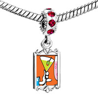 Charms Beads - red crystal dangle gold food drink Image.