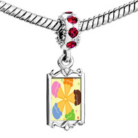 Charms Beads - red crystal dangle pink orange blue green flower Image.