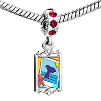 Charms Beads - red crystal dangle gold travel whale Image.