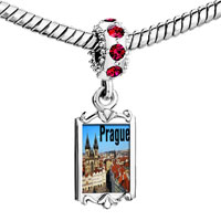 Charms Beads - red crystal dangle gold lmark prague Image.