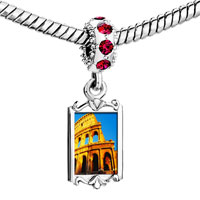 Charms Beads - red crystal dangle gold lmark colosseum Image.