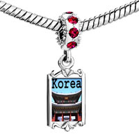 Charms Beads - red crystal dangle gold lmark korea temple Image.