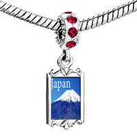 Charms Beads - red crystal dangle gold travel mt fuji Image.