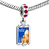 Charms Beads - red crystal dangle travel resort taj mahal Image.