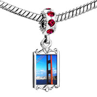 Charms Beads - red crystal dangle gold travel golden gate bridge Image.