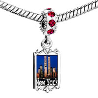 Charms Beads - red crystal dangle gold travel new york city Image.