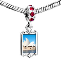 Charms Beads - red crystal dangle gold travel sidney opera house Image.