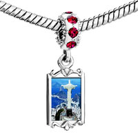 Charms Beads - red crystal dangle gold travel statue christ the redeemer Image.