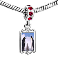 Charms Beads - red crystal dangle gold animal penguin in antarctica Image.