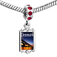 Charms Beads - red crystal dangle gold travel oresund bridge Image.