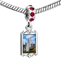 Charms Beads - red crystal dangle gold travel callanish sting stones Image.