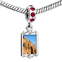 Charms Beads - red crystal dangle gold travel kasneh in petra Image.