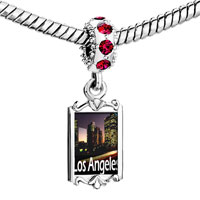 Charms Beads - red crystal dangle gold travel los angeles Image.
