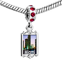 Charms Beads - red crystal dangle gold travel miami Image.