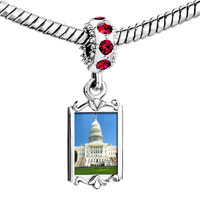 Charms Beads - red crystal dangle gold travel washington dc Image.