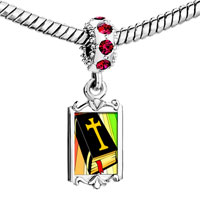Charms Beads - red crystal dangle gold religious bible Image.