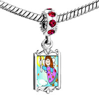 Charms Beads - red crystal dangle gold religion angel &  cle Image.