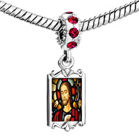Charms Beads - red crystal dangle gold religion jesus Image.