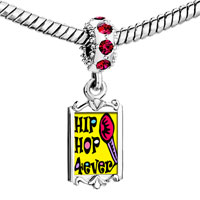 Charms Beads - red crystal dangle gold music hip hop forever Image.