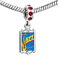 Charms Beads - red crystal dangle gold music jazz Image.