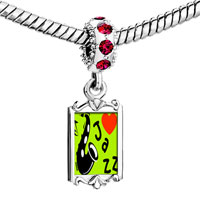 Charms Beads - red crystal dangle gold music i love jazz Image.