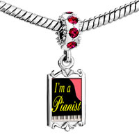 Charms Beads - red crystal dangle gold music i am a pianist Image.