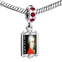 Charms Beads - red crystal dangle gold music mozart Image.