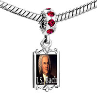Charms Beads - red crystal dangle gold music j. s. bach Image.