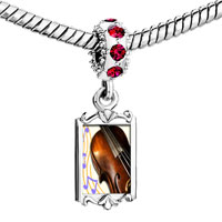 Charms Beads - red crystal dangle gold music violoncello Image.