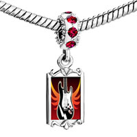 Charms Beads - red crystal dangle gold music electric guitar Image.