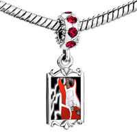 Charms Beads - red crystal dangle gold music theme powerful electric guitar Image.