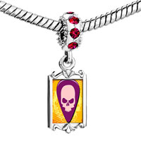 Charms Beads - red crystal dangle gold music theme guitar plectrum Image.