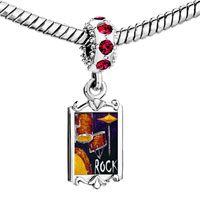 Charms Beads - red crystal dangle gold music theme the b Image.