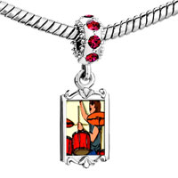Charms Beads - red crystal dangle gold music theme playing drummer Image.