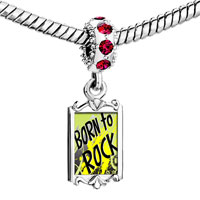 Charms Beads - red crystal dangle gold music theme born to rock Image.