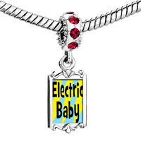 Charms Beads - red crystal dangle gold music theme electric baby Image.