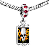 Charms Beads - red crystal dangle gold music theme horror skull Image.