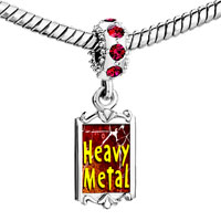 Charms Beads - red crystal dangle gold music theme heavy metal Image.