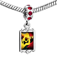 Charms Beads - red crystal dangle gold music theme guitar singer Image.