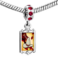 Charms Beads - red crystal dangle gold music theme cowboy Image.