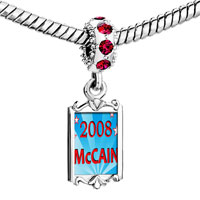 Charms Beads - red crystal dangle gold usa patriotic 2008  mccain Image.