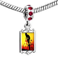 Charms Beads - red crystal dangle gold sports cyclocross Image.