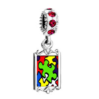 Red Crystal Dangle Photo Gold Word Autism Beads Charms Bracelets