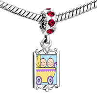 Charms Beads - red crystal dangle gold family twin baby Image.