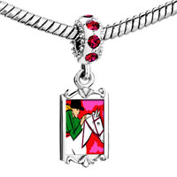 Charms Beads - ruby red swarovski crystal dangle hobbies ride equestrian horse bracelets Image.