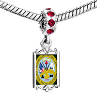 Charms Beads - red crystal dangle gold phrase patriotic seal Image.