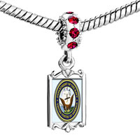 Charms Beads - red crystal dangle gold character patriotic seal Image.