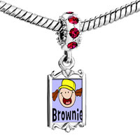 Charms Beads - red crystal dangle gold fictional character brownie Image.