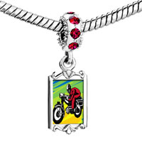 Charms Beads - red crystal dangle motorcycle Image.