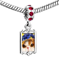 Charms Beads - red crystal dangle kitten Image.